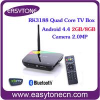 Quad Core Smart Android4.4 TV Box Built-in Camera 2.0MP TV Receiver 2G/8G Full HDMI AV Bluetooth USB RJ45 WiFi CS968