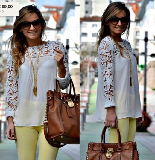 2014 new HOT! White Blue/Black/Yellow Women Lace Sleeve Chiffion Blouses Tops Emboriey Gorgeous Shirts long Sleeve embroidery(China (Mainland))