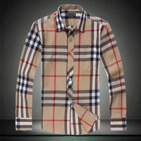 2014 Men's 5xl plus size shirt long-sleeved plaid men shirt khaki big size famous brand top desinger items in stock #818