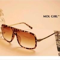 2014 fashion leopard sunglasses Women big black metal glasses Men coating women's sun glasses qzbt I19