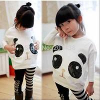 Hu sunshine wholesale New 2014 autumn fall Batwing panda t-shirt + striped leggings clothing set girls clothes set outfits