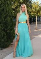 2014 Elegant Halter Cross A Line Neckline Golden Sashes Draped Sleeveless Chiffon Sky Blue Floor Length Long Prom Dresses