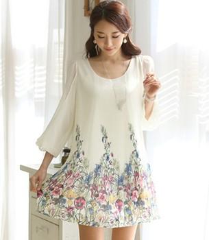 2014 весной и летом женские Большой размер три четверти рукав шифона платье