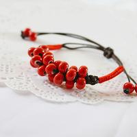 Ceramic beans bracelet    beads / garnet jewelry  retro national wind   sisters jewelry