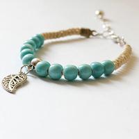 Ceramic mint green woven Bracelet / hand / folk style / bell jewelry / girl