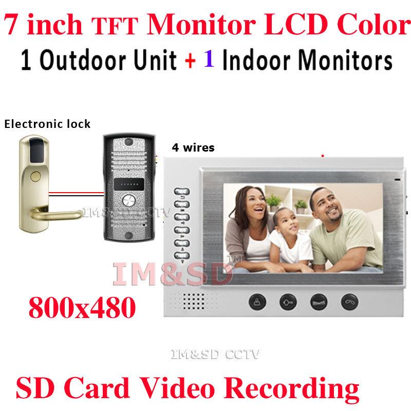 Luxury Door Phone 7 Inch TFT Monitor LCD Color Video DoorPhone Intercom SD Card Video Recording Waterproof Night Vision Camera(China (Mainland))