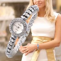 Luxury Women Rhinestones Watches Sparkling Round Crystal Bracelet Watch Super Fashion Analog Ladies Wristwatches Hot Sale