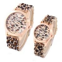 Geneva Watches Leopard Rubber Band Lady Quartz Wristwatches Analog Steel Dial Women Dress Watch Dropship