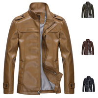New 2014 Spring Autumn Leather Men Coat  Fashion Excellent Quality Motorcycle Jacket Color Black/Brown/Army Green/Khaki