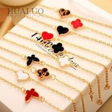 Fashion Alloy Gold Plated Heart Chain&Link Drop Glaze Bracelet Bangle For Women B329 B330 B334