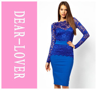 Winter Fashion Women Long Sleeve Elegant Modern Women Graceful Blue Lace Fit Midi Summer 2014 Dress  LC6217  novelty girl dress