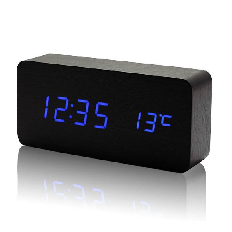 Wholesale 13 Colors LED alarm clocks with Temperature voice activated , luminova display digital clock(China (Mainland))