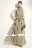 2014 fashion fashion a strapless neckline plait lacy long ritual chiffon dress