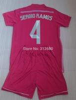 SERGIO RAMOS 4 RONALDO 7 BENZEMA 9 BALE 11 ISCO 23 Away Pink Youth child kids soccer Jersey sets (shirts + shorts),ALONSO jersey