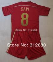 2014 XAVI 8 red Youth child boy young kids soccer Jersey kits (shirts + shorts)  XAVI football jersey + can custom names&numbers