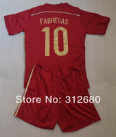Hot! 2014 FABREGAS #10 home red Youth kids child boy soccer Jersey kits (shirts + shorts) + can custom names&numbers