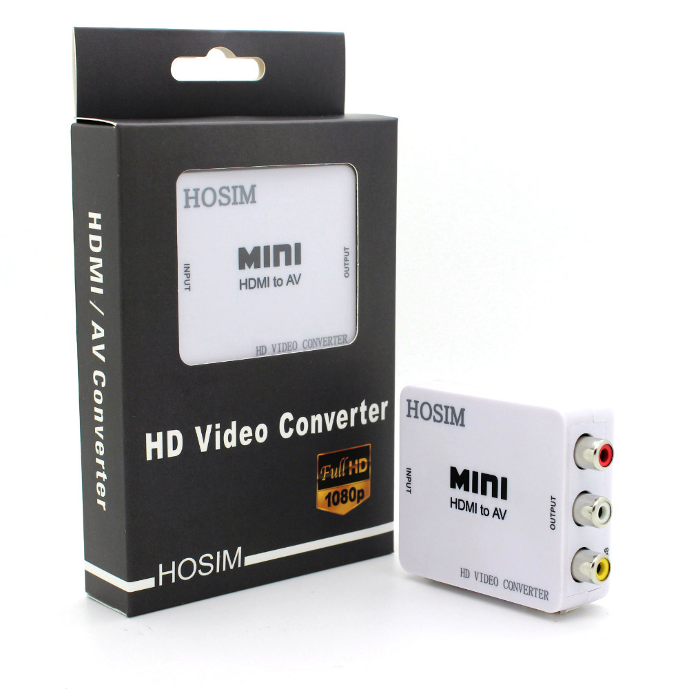 Wholesales Mini HD Video Converter Box HDMI to AV/CVBS L/R Video Adapter 1080P HDMI2AV Support NTSC and PAL Output Free shipping(China (Mainland))