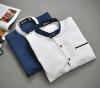 2014 promotion time-limited freeshipping solid cotton mens slim fit unique neckline stylish casual long sleeve shirts men l-xxxl