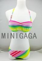 lady swimwear 2014 color rainbow victoria style bikini Swimwears for Women Bikini Set Women Swimsuit Push Up free shipping