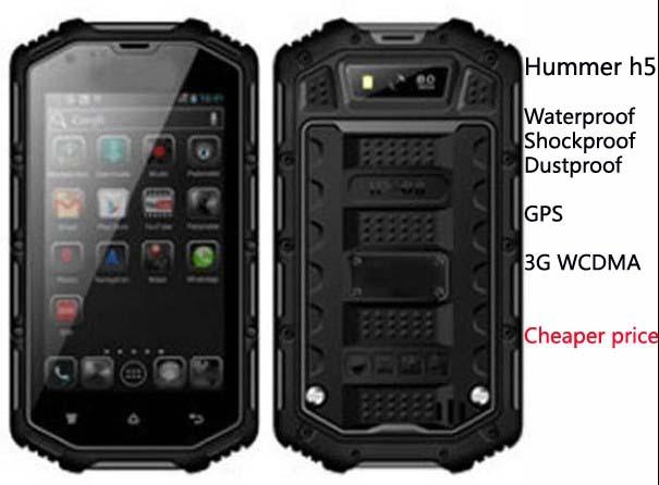 "Hummer h5 ip68 wasserdicht telefon 3g gps 4.0"" bildschirm mtk6572 dual-core 1,3 GHz 4gb 5mp staubdicht stoßfest ip67 outdoor-handy"