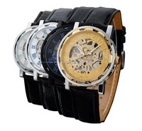 100pcs High quality Winner Skeleton Watch for Men Mechanical Watches Hollow Hand Wind Leather watches Gold Outside Sports watchs