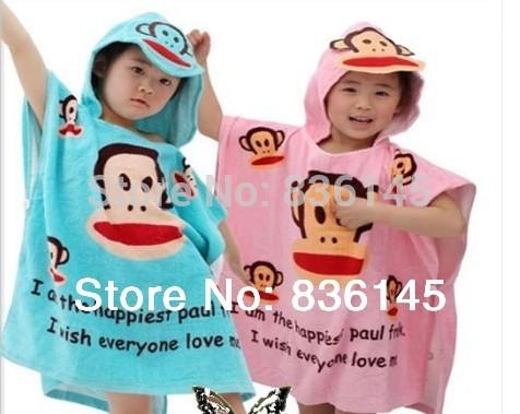 NEW 2014 cute animals Baby Cotton Bathrobe Children Beach Towel Kids Bath Robe for girl or boy monkey(China (Mainland))