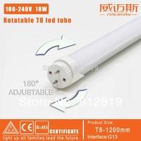 promotion!!free shipping 6pcs t8 led tube 1200mm 18w rotatable t8 180 degree led fluorescent tube 100-240v milky cover