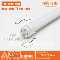 promotion!!free shipping 6pcs t8 led tube 1200mm 18w rotatable t8 180 degree led fluorescent tube 100-240v milky cover