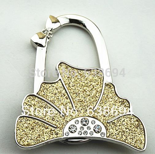 Free Shipping Metal Foldable Bag Purse Hook Bag Hanger/Purse Hook/Handbag Holder Shell Bag Folding Table Grey Leaf(China (Mainland))