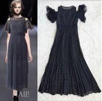 2014 Summer New Fashion Dress Women Off the Shoulder Petal Sleeve Elegant Stretchy Long Dress Chiffon Black/White Pleated Dress