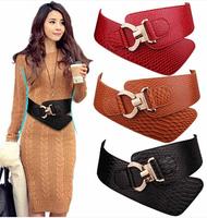 Women Belt Cummerbunds Fashion Design Elastic Bow Waist Belt Buckle Cowhide Leather Wide Belts Female Strap Waistband For Dress