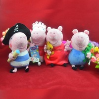 4pcs/lot Peppa Pig family set figures Plush Doll Toys Stuffed pink pig Toy ballet pirates George boys pink girls 23cm