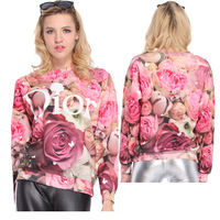 2014 New fashion women/men Rose Letter beaty thin lover galaxy Sweatshirts Hoodies print 3d top Dropshipping good quality