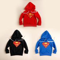 2014 spring Boys Superman children sweatshirt kids long sleeve sweater with hooded Blusa Moleton Infantil