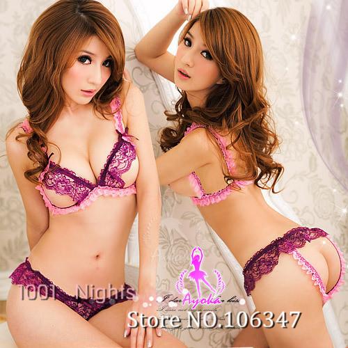 Open Breast Crotch Women Erotic Lace Sexy Sexiest Lingerie Hot & Bra Brief Sets Costumes Porn Micro Bikini Sleepwear + T pants(China (Mainland))