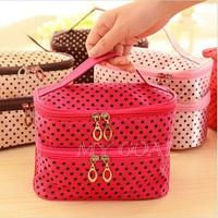 Fashion Women Portable Cosmetic Retro Dot Pattern Beauty Makeup Hand Case Bag[24010113]