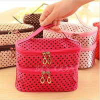 Fashion Women Portable Cosmetic Retro Dot Pattern Beauty Makeup Hand Case Bag[24010113]