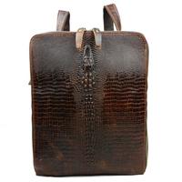 New Vintage Fashion Casual Crocodile Genuine Leather Oil Wax Leather Cowhide Men Backpack Shoulder Bag For Men 1225