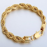Rope 18K Yellow Gold Filled Plated MENS Bracelet 8.5 Chain Knot Wholesale Bulk Price Free Shipping Jewelry Gift LGBM14