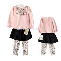 Free Shipping 100% Cotton Carter Baby Girls Autumn Clothing Set 2Pcs/Set Pink Sweater+Leopard Pants