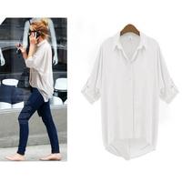 2014 new fashion women loose blouse Chiffon Sexy Summer  Shirt  Office OL Work wear Shirts Plus Size