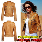 Fashion Slim Pu Faux Leather Jackets Women Ladies Girl 2014 Spring Autumn New Clothing Clothes BrandWT4039(China (Mainland))