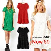 S-XXXXL Plus Size New Fashion Women's Elegant Short Sleeve O-neck Flower Lace Pattern Hollow out Slim Ladies Mini Dresses PS0490