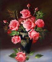 Mosaic Crystals 3D 5D DIY Diamond Painting Rose Red Flower Vase Rhinestone Cross Stitch Kit Embroidery Needlework Set Cheap Free