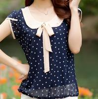 New 2014 women Summer Blouse Chiffon Blouse bow polka dot short-sleeve fashion Lace Blouse Loose plus size 2 color M-3XL