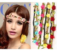 2014 new style Wholesale   Bohemian Headband HAIRBANDS  ROSE Flower Braided Leather Elastic Headwrap hairband Hair Ornaments