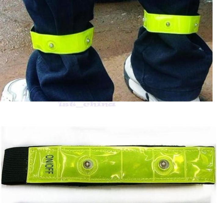 4 LED reflective safety band flashing LED Velcro Arm leg Bands Bicycle running bracelet belt(China (Mainland))