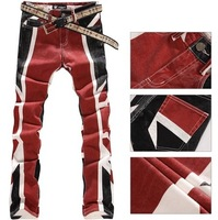 Jeans men Free Shipping colored drawing fashion elastic slim pants The British Union Jack printed plus size painted denim jeans