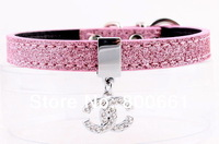 Retail  (4colors available)Free Shipping!12MM Paillette Small Dog Collar With CC or Heart Charm  10% off for 2pcs!