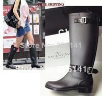 Fashional Women Motorcycle Rain Boots For Ladies Free Shipping black fashion female boots zipper rain shoes long design boots